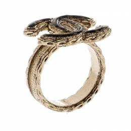 Chanel CC Resin Gold Tone Ring Size 54.5 209785