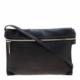 Victoria Beckham Black Leather Front Zip Crossbody Bag 209856