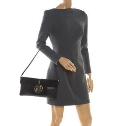 Escada Black Leather and Calfhair Shoulder Bag 209860