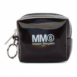 Mm6 Maison Margiela Black Holographic Small Square Coin Pouch 192188F03800101GB