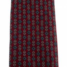 Celine Burgundy Geometric Logo Print Silk Tie 210171