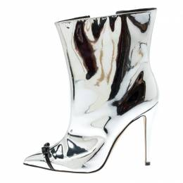 Marco De Vincenzo Metallic Silver Leather Bow Detail Pointed Toe Boots Size 39.5 210313