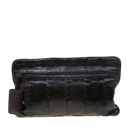 Bottega Veneta Black Snakeskin Convertible Flat Clutch 208835