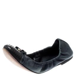 Louis Vuitton Blue Python Leather Scrunch Ballet Flats Size 36 210342