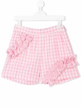 Msgm Kids - ruffled gingham shorts 96990330539000000000