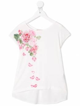 Monnalisa - футболка с принтом роз 660SB309693666358000