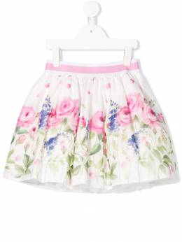 Monnalisa - присборенная юбка с цветочным узором 36336089358300600000