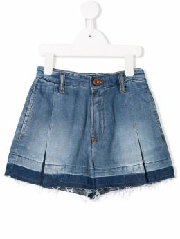 Diesel Kids - джинсовые шорты со складками и необработанным краем 5BHKXB60936656860000