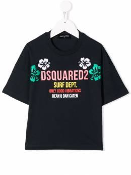 Dsquared2 Kids - футболка с цветочной вышивкой 3CFD66MM933638860000