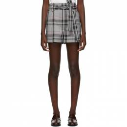 3.1 Phillip Lim Black and White Plaid Belted Shorts 192283F08800503GB