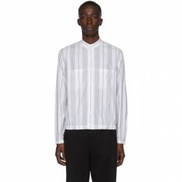 3.1 Phillip Lim White and Black Striped Blouson Shirt 192283M19200205GB