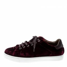 Gianvito Rossi Burgundy Velvet Loft Low Top Lace Up Sneakers Size 37.5 210673