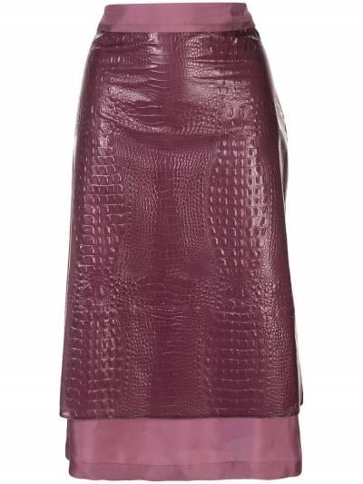 Sies Marjan - юбка с тиснением под кожу крокодила P3658563909395596600 - 1