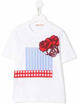 Marni Kids - футболка с цветочным принтом 9Z8M66C3933580930000