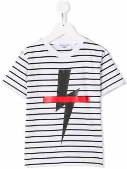 Neil Barrett Kids - футболка в полоску с принтом 60593890039000000000