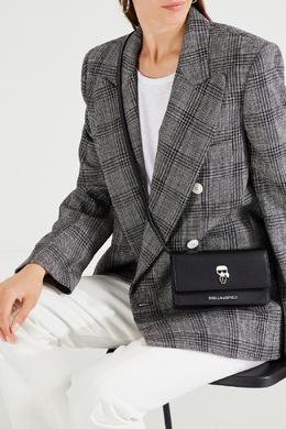 Черный клатч с клапаном и отделкой Karl Lagerfeld 682142108