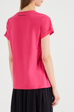 Розовая футболка с логотипом и карманом Karl Lagerfeld 682142078