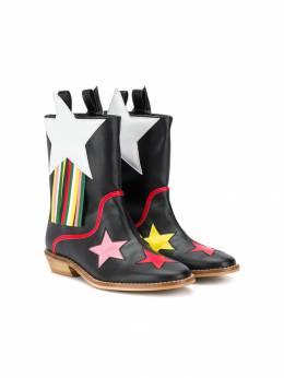 Stella McCartney Kids - ковбойские сапоги с нашивками 350SND96950996390000