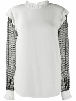 Twin-Set - блузка с контрастными прозрачными рукавами TP036095069958000000