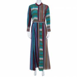 Diane Von Furstenberg Multicolor Striped Silk Maxi Shirt Dress S 219491