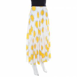 Christopher Kane White and Yellow Sunshine Print Pleated Midi Skirt S 211140