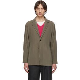 Homme Plisse Issey Miyake Khaki Pleats Tailored Blazer 192729M19500504GB
