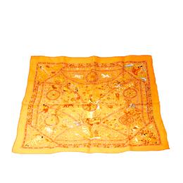 Hermes Orange Peuple Du Vent Printed Silk Pocket Square 208543