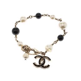 Chanel CC Faux Pearl Bead Gold Tone Bracelet 211496