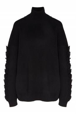 Черный свитер с декором на рукавах Niveous Barrie 1707142659