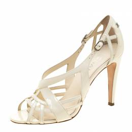 Chanel Patent Leather Cut Out Ankle Strap Sandals Size 38.5 211321