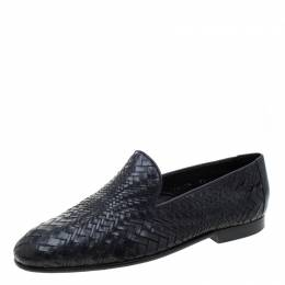 Baldinini Black Woven Leather Loafers Size 39 211013