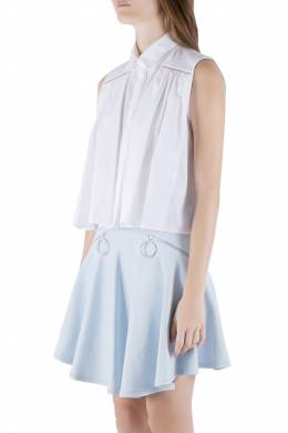 Christopher Kane White Cotton Metal Bar Embellished Sleeveless Shirt M 211400
