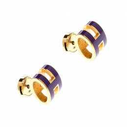 Hermes Pop H Purple Lacquered Gold Plated Stud Earrings 210350