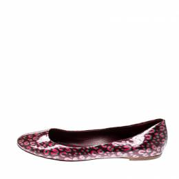 Louis Vuitton Burgundy Leopard Print Patent Leather Vernis Stephen Sprouse Ballet Flats Size 40.5 211944