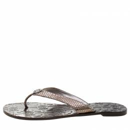 Tory Burch Metallic Grey Python Embossed Leather Thora Flat Thong Sandals Size 39 211173