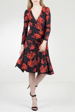 Присборенное платье с принтом Roberto Cavalli 314143245