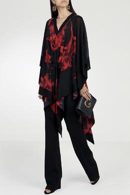 Черная блуза с красными цветами Roberto Cavalli 314143259