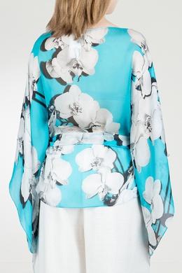Голубая блуза с орхидеями Roberto Cavalli 314143260