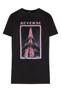 Черная футболка с трафаретным принтом Maje 888143370
