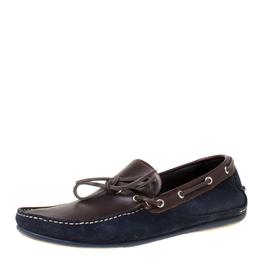 Salvatore Ferragamo Brown/Blue Leather Loafers Size 43.5 Louis Vuitton 211938