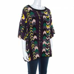 M Missoni Multicolor Chevron Print Silk Tunic Top M