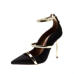Malone Souliers Black Satin Robyn Ankle Strap Pumps Size 35 211145