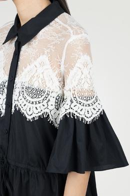 Черное платье с кружевной отделкой Twin-set 1506143431
