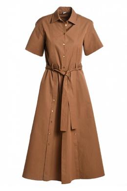 Коричневое платье с декоративными застежками Eleventy 2014143578