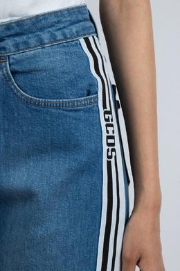 Синие джинсовые бермуды с лампасами Gcds 2981143773