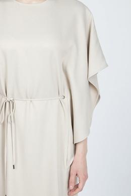 Бежевое платье-макси с отделкой рукава Eleventy 2014143563
