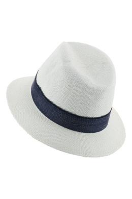 Белая шляпа с контрастной лентой Eleventy 2014143621