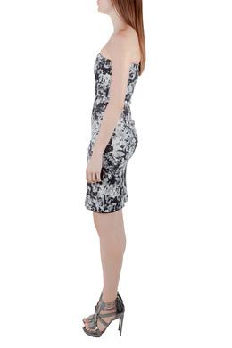 Erdem Black and White Floral Print Stretch Cotton Corset Bodice Dress S