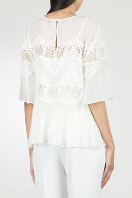 Белая блуза с кружевом Twin-set 1506143446