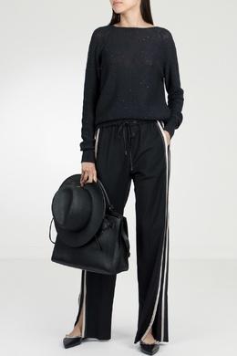 Черные брюки с лампасами и разрезами Peserico 1501143612